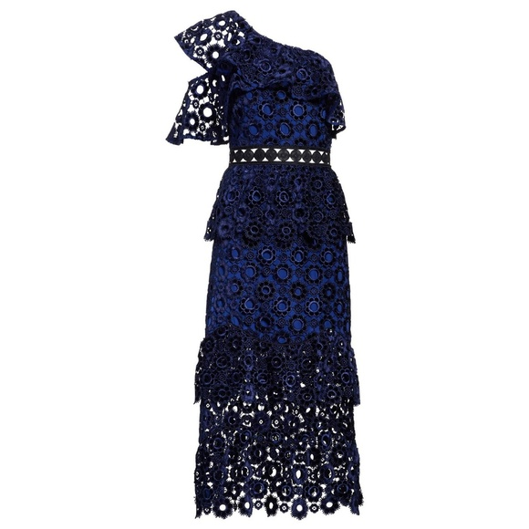 b37e6a9e40ee Self-Portrait Dresses | Selfportrait Navy One Shoulder Velvet Lace ...